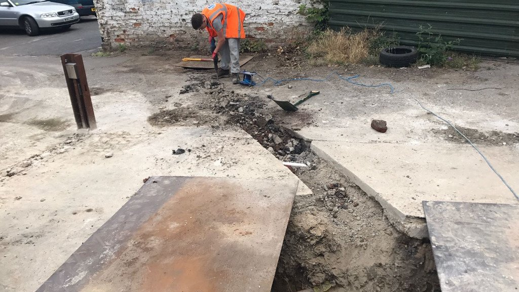 drainage pipe trench in reading being created